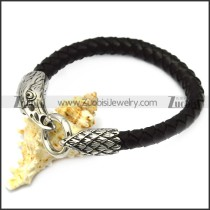 black leather bracelet with 2 raven end caps b007859