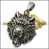 Solid Stainless Steel Wild Wolf Pendant p008116