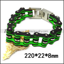 22mm wide stainless steel black outside and green inner bicycle chain bracelet b007628
