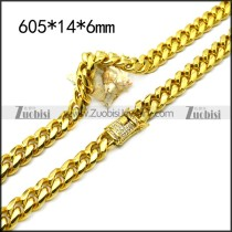 golden stainless steel hip hop casting necklace with bling buckle n002226