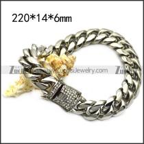 14mm wide stainless steel cast hip hop bracelet b007988