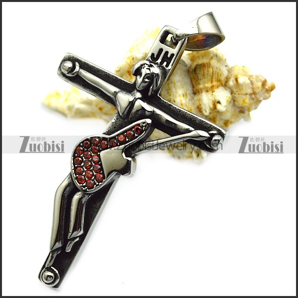 vintage 316l stainless steel johnny hallyday guitar cross pendant with red rhinestones p008223