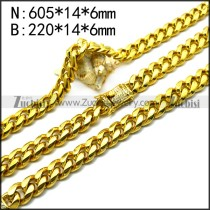 gold plating stainless steel bling necklace and bracelet set s002725