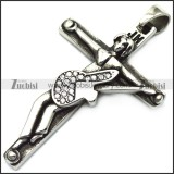 johnny hallyday guitar cross pendant in vintage 316l stainless steel p008399
