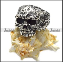 rough ugly 925 sterling silver skull ring for bikers r006048