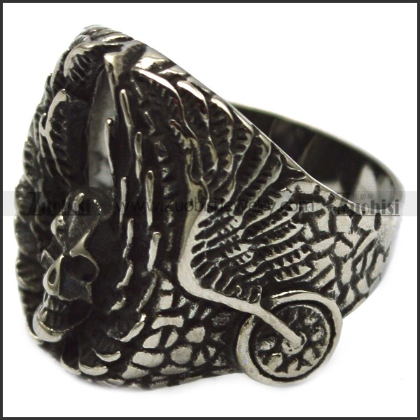 stainless steel wing skull rings