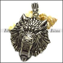 Big Stainless Steel Wolf Pendant with Hollow Back p008674