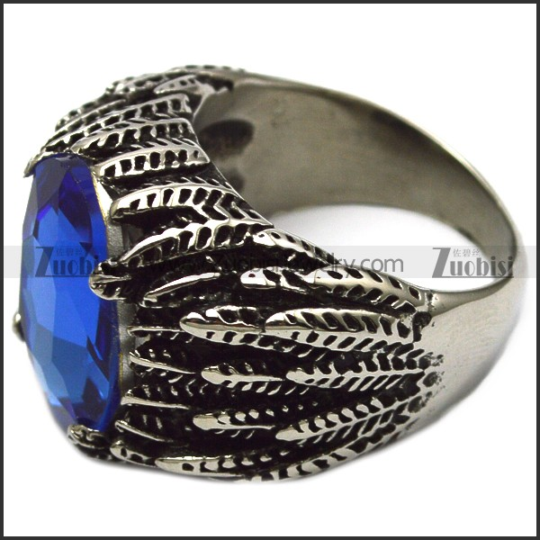 blue clear stone stainless steel ring