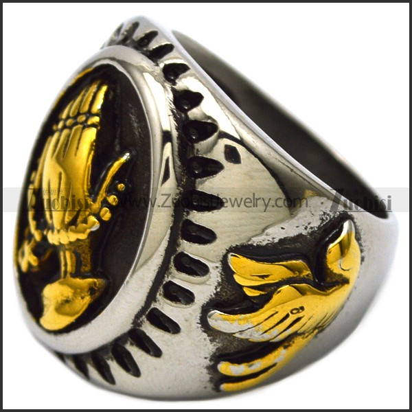golden stainless steel prayer ring