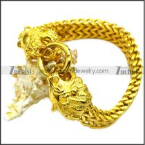 Golden Stainless Steel Lion Heads Bracelets b008821