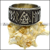 Vintage Mens Stainless Steel Viking Valknut Scandinavn Odin Symbol Norse Text Ring r006813