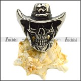 Silver Tone Skull Ring Wearing a Cross Cowboy Hat r007279