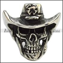 Silver Tone Skull Ring Wearing a Cross Cowboy Hat r007279