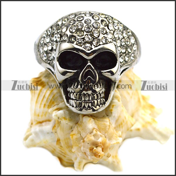 Stainless Steel Casting Skull Ring with Clear Rhinestones