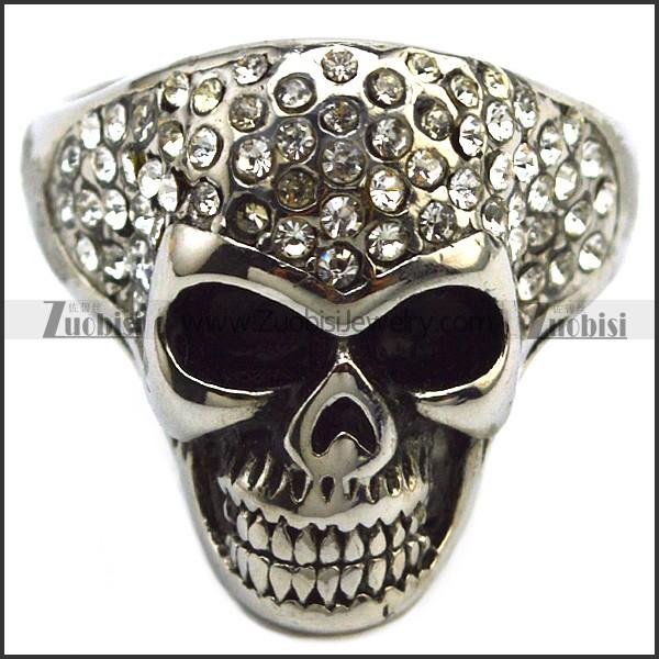 shiny multi clear rhinestones skull ring for unisex bikers