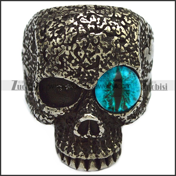 Blacken Stainless Steel One Blue Evil Eye Skull Ring