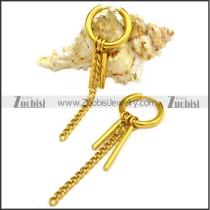 Golden Stainless Steel Huggie Hinged Hoop Dangle Earrings for Women e001896