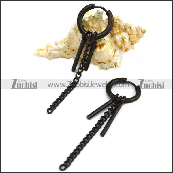 Black Stainless Steel Huggie Hinged Hoop Dangle Earrings for Unisex e001897