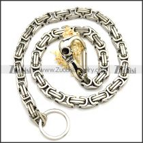 10mm Wide Stainless Steel Jean Chain with Casting Skull Clasp y000054
