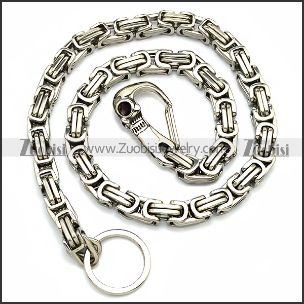 10mm Wide Stainless Steel Jean Chain with Casting Skull Clasp