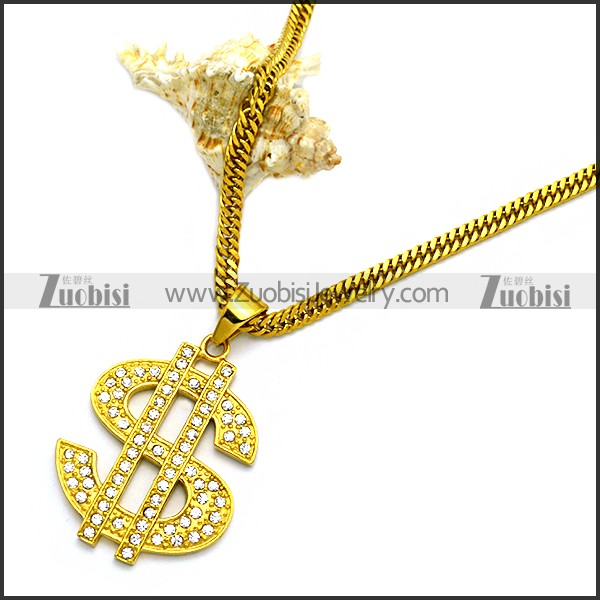Golden Stainless Steel US Dollar Sign Necklace Hip Hop Jewelry