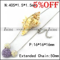 Steel Chain with 1 Big Purple and 2 Small Clear Rhinestones Balls n001365