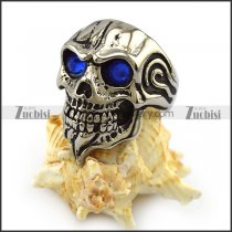 Blue Rhinestone Eyes Skull Ring with Beard r004324