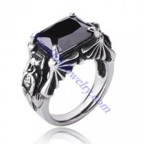 Punk Style Dragon Ring with Dark Black Facted Square Stone -JR350007