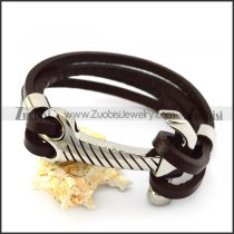 Brown Leather Bracelet with SS Hammer Buckle b006143