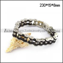 15mm Black and Silver Bicycle Chain Bracelet b004825