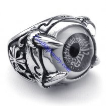 pale grey evil eye ring JR350267
