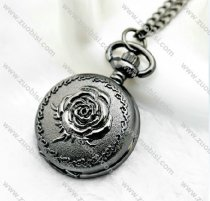 Black Gun Metal Rose Pocket Watch Chain for Women - PW000043