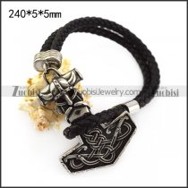 Viking Hammer Black Real Leather Bracelet b006299