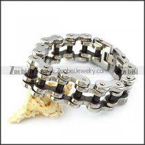 25MM Wide Stainless Steel Bike Link Chain Bracelet with Black Tube b005407