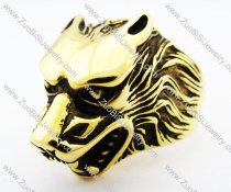 Gold Stainless Steel Wolf Ring for men -JR010178