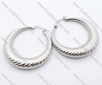 Bigger Silver Thread Cutting Stainless Steel earring - JE050072