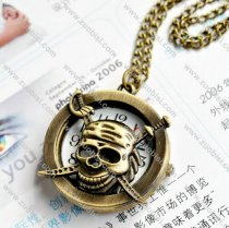 Pirate Skull Pocket Watch with Chain -PW000166