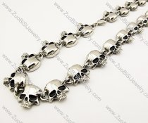 All Skull Heads Stainless Steel Necklace in 24 inch -JN170004