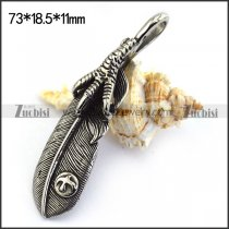 Large Mens Stainless Steel Feather Pendant p003491