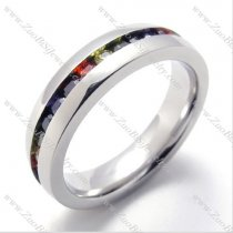 CNC Colorful Zircon Stone Stainless Steel Ring from China Wholesale Jewelry Shop -JR430002