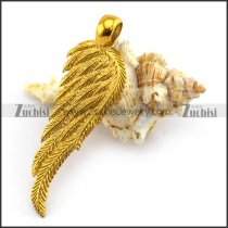 Gold Feather Pendant in Stainless Steel p003642