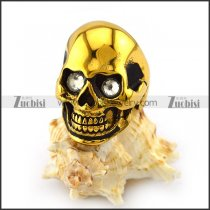 Vintage Gold Plating Steel Skull Ring with Crystal Rhinestone Eyes r004285