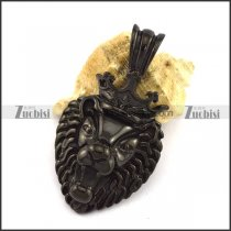 Black Plated Stainless Steel Lion King Pendant p002995
