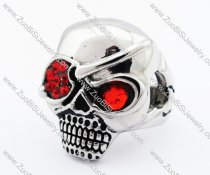 Stainless Steel skull Ring with 2 red eyes  in different sizes -JR010193