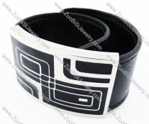 Stainless Steel Black Leather Bracelet - JB400028