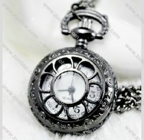 Gun Metal Black Sun Flower Pocket Watch -PW000146