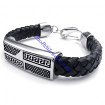 black leather bracelets with lobster clasp -JB480007