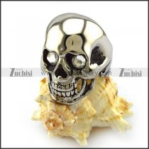 High Polishing Stainless Steel Skull Ring with 2 Crystal Rhinestones Eyes r004298