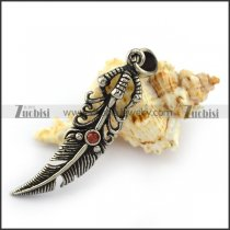 Red Rhinestone Stainless Steel Paw Feather Charm p004216
