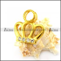 Gold Plating Crown Pendant with Clear Rhinestones p005539